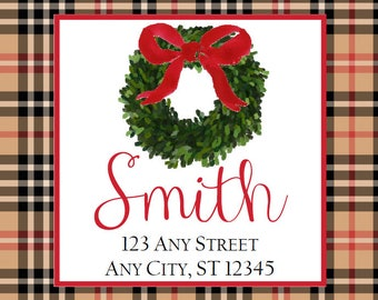 Christmas Return Address Labels, Black Tan Plaid Boxwood Wreath Square Stickers, Address Labels, Preppy Christmas Labels