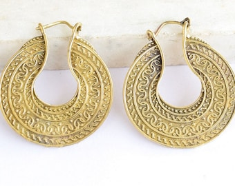 Brass Earrings - Brass Hoops - Brass Tribal Earrings - Hoops Jewelry - Brass Jewelry - Tribal Jewelry - Native Jewery - Ethnic Jewelry  316