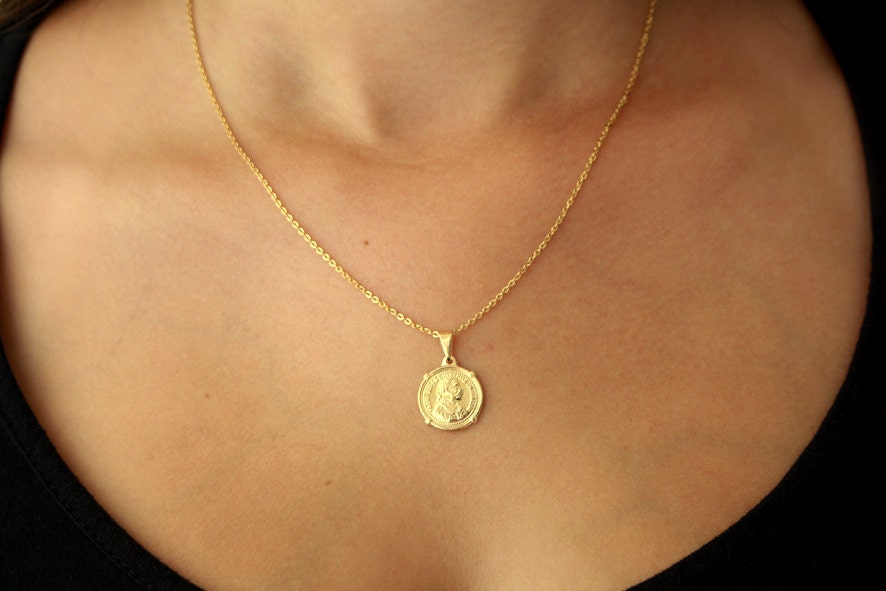 Gold pendant gold coin coin jewelry coin pendant gold zoom aloadofball Image collections