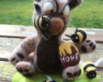 Bear with his honeypot & bees Soft Sculpture, wool needle felted animal, creature ornament, home decor - SamBee
