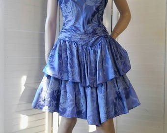 1980s blue floral strapless party dress with tiered skirt and boned bodice