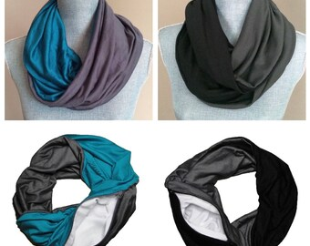 HOLIDAY SALE BUNDLE- Get Two Infinity Scarves with Hidden Pocket - Two Sided Scarves