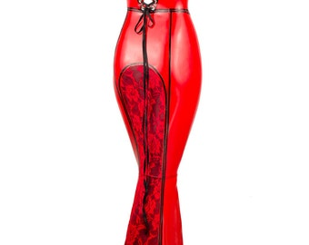 Hera Latex and Lace Full Length Fishtail Gown