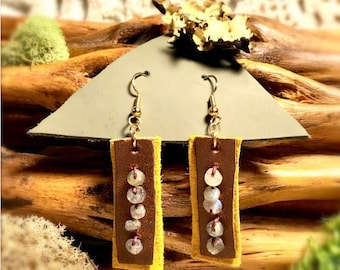 Brown and yellow leather rectangles earrings with hand-sewn labradorite stones.