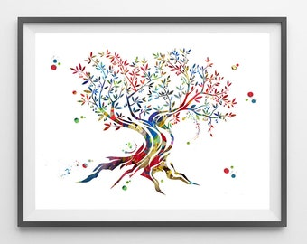 Olive Tree watercolor Print Olive tree poster olive tree illustration painting tree art wall art gift mediterranean olive tree print [429]