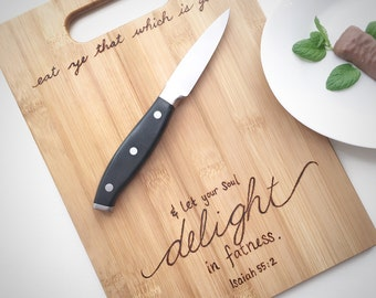 Foodie Gifts Cutting Board Funny Bible Verse Wood Wall Art Serving Board Scripture Verse Wooden Wall Decor Kitchen Art Wood Kitchen Humor