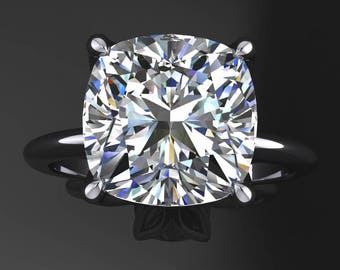 natalie ring - 3.3 carat cushion cut NEO moissanite engagement ring, colorless moissanite ring