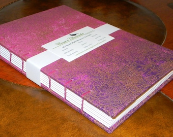 Medium Purple & Gold Floral Print Fabric Covered Coptic Stitch Bound Lined Journal 6x8 inch