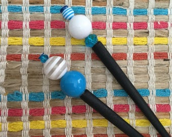 Turquoise White Striped Hair Stick
