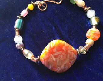 Boho bracelet, Tribal style bracelet,  Bracelet with Shell focal bead