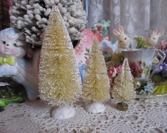 Beautiful White Flocked-Bottle Brush Tree Lot-Decoration-Putz-3 piece Set