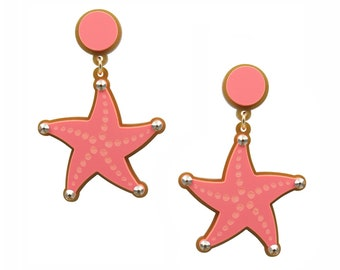 Reach for the Star Earrings in Coral, perspex earrings, lasercut earrings, starfish, acrylic earrings
