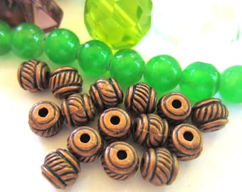 30 Antique copper beads spacers metal jewelry making supplies 5mm x 5mm lead free nickel free 0193Y(-W2),