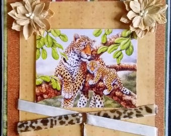 masculine card scrap, MOM and baby Cheetah