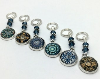 Blue Medallion Stitch Markers | Snag Free Knitting Charms | Gifts for Knitters