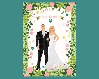 Save The Date, Wedding, Wedding Invitation, Engagement, Wedding Portrait, Custom Portrait, Stationary, Wedding Invitation, Couple Portrait