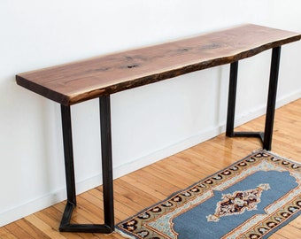 Live Edge Slab Console Table Black Walnut with Industrial Steel Chevron Legs Entryway Table Console Table Rustic Industrial Home Furniture