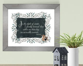 Winter Printable Art Print home decor In the depth of winter quotation by Albert Camus.