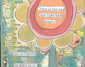 this is the day, scripture art, Psalms, art print, sunflower art