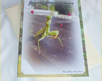 "Carte double Anniversaire ""Coquine Mante religieuse""10x15cm faite main de Céline Photos Art Nature"