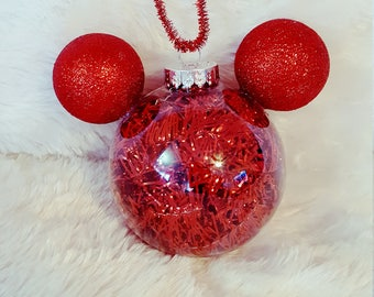 Disney Mickey inspired Tinsel Christmas Ornament