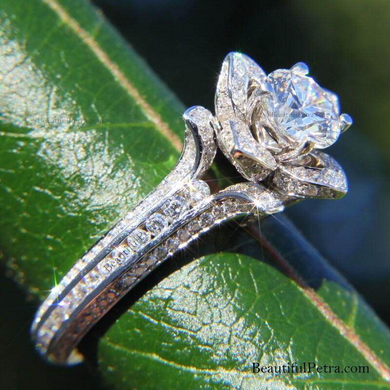 Gorgeous UNIQUE Flower Rose Diamond Engagement Ring EGL