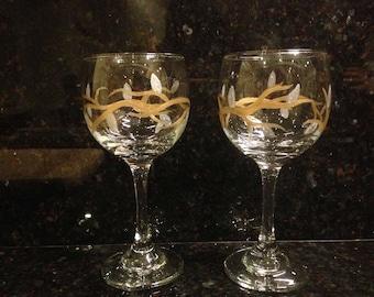 Gold Vine Wine Glasses