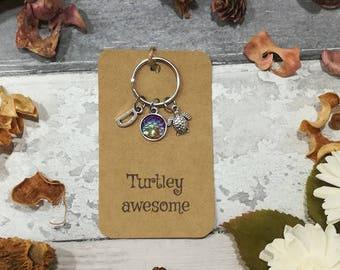 Turtle Keychain, Turtle Keyring, Sea life Keychain, Sea Turtle Keychain, Turtle Jewelry, Ocean Keychain, Turtle Gift, Beach Keyring, Turtle