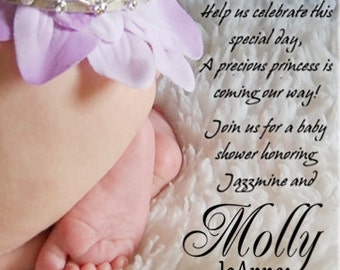 Baby Feet and TIARA Baby Shower invitations for a GIRL