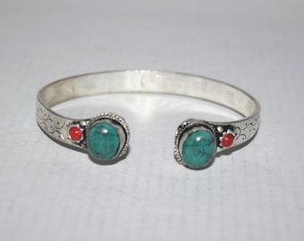 Turquoise bracelet, Coral Bracelet, Boho bracelet, Silver Bracelet, Tribal Bracelet, Gypsy bracelet, Navajo Bracelet BTBB112