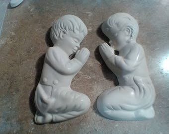 Praying Children Wall decorations, Plaster chalkware, Handmade, Prayer Kneeling Children, Children in Prayer, Girl Boy Praying
