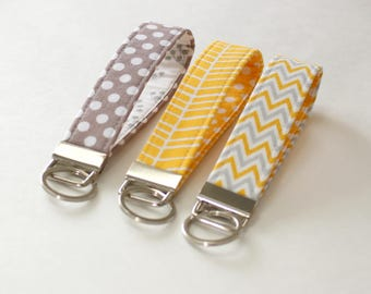 Gray and Yellow Fabric Keychain, Gray Yellow Key Fob, Wristlet keychain, key strap - PREORDER
