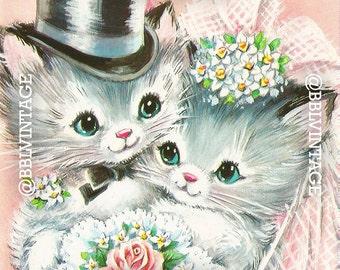Vintage Digital Greeting Card: Kitsch Wedding Kittens - Digital Download, Printable, Scrapbooking, Image, Clip Art