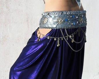 Dorothea's Belly dance Belt, Tribal Fusion belt,  Silver, Vintage, Cabaret, Belly dance costume.