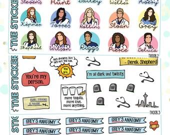 Grey's Anatomy Planner Stickers | 3 Piece Deco & Flag Kit