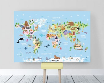 World map poster etsy printable art for kids room animal world map for kids world map nursery animal gumiabroncs Image collections