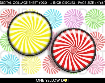 INSTANT DOWNLOAD - 1 Inch Circles Digital Collage Sheet - Peppermint Lollipops Candy - Bottle Caps Scrapbooking Pendant Magnets Tags - 030