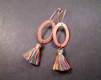 Tassel Earrings, Rainbow Cotton Tassels and Rose Gold Pendants, Long Dangle Earrings, FREE Shipping U.S.