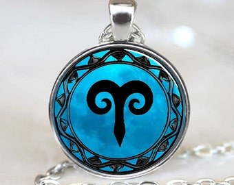 Aries Blue Moon Zodiac Symbol Pendant, Aries Zodiac Necklace Astrology Horoscope Jewelry Necklace Pendant with Ball Chain Included(PD0462)