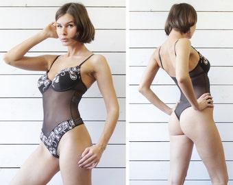 Vintage brown mesh lace embroidery thong leotard bodysuit lingerie 34C