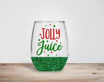 Jolly Juice Wine Glass - Glitter Dipped Stemless Wine Glass - Glitter Wine Glass - Holiday Wine Glass - Christmas Wine Glass
