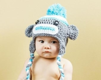 Sock Monkey Hat - Baby Hat - Monkey Hat -  Cute and Soft Earflap - by JoJosBootique