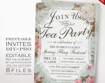 Tea Party Event Invitation Template - Vintage Rose Tea Party Theme Affair Invitation Printable DIY Country Invitation Editable Event Invite