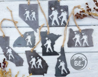 STATE HIKER Ornament Pick Your State Rustic Raw Steel Christmas Decoration Personalize Home Decor Hiking Traveler Keepsake By BE Creations