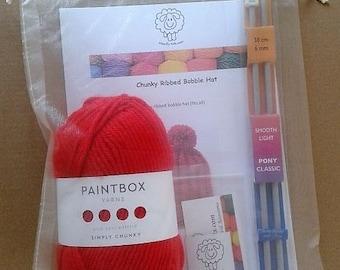 A WoollyKits Chunky Ribbed Bobble Hat Knitting Kit + FREE Stitch-Marker
