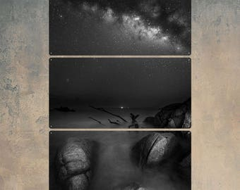 Milky Way from Huatulco Mexico BW Triptych Metal Wall Art