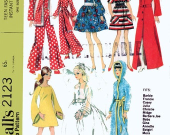Vintage 60's Mod Doll Sewing Pattern McCall's 2123 Barbie Wardrobe Jumpsuit, A Line Mini, Felt Hat, Bridal Gown, Trench Coat Size 11.5 Doll