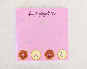 Donut post its | Donut sticky notes | Donut forget to | Foodie sticky notes | Donut gifts | Donut lovers | Cute and Fun Sticky Notes