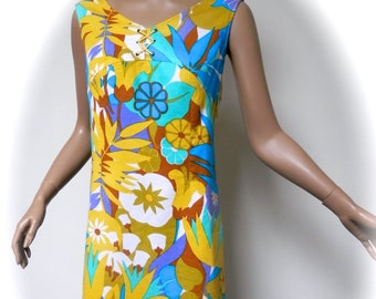 vintage 60s dress psychedelic summer shift mod 1960s flower power 12 uk m
