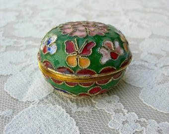 Exquisite Small Chinese Cloisonné Treasure Box, colorful enameled flowers & butterflies, collectible keepsake or gift box